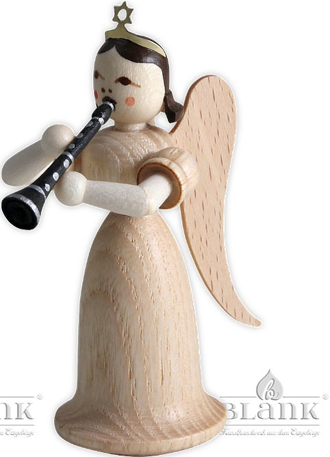 angel with long pleated robe and clarinet