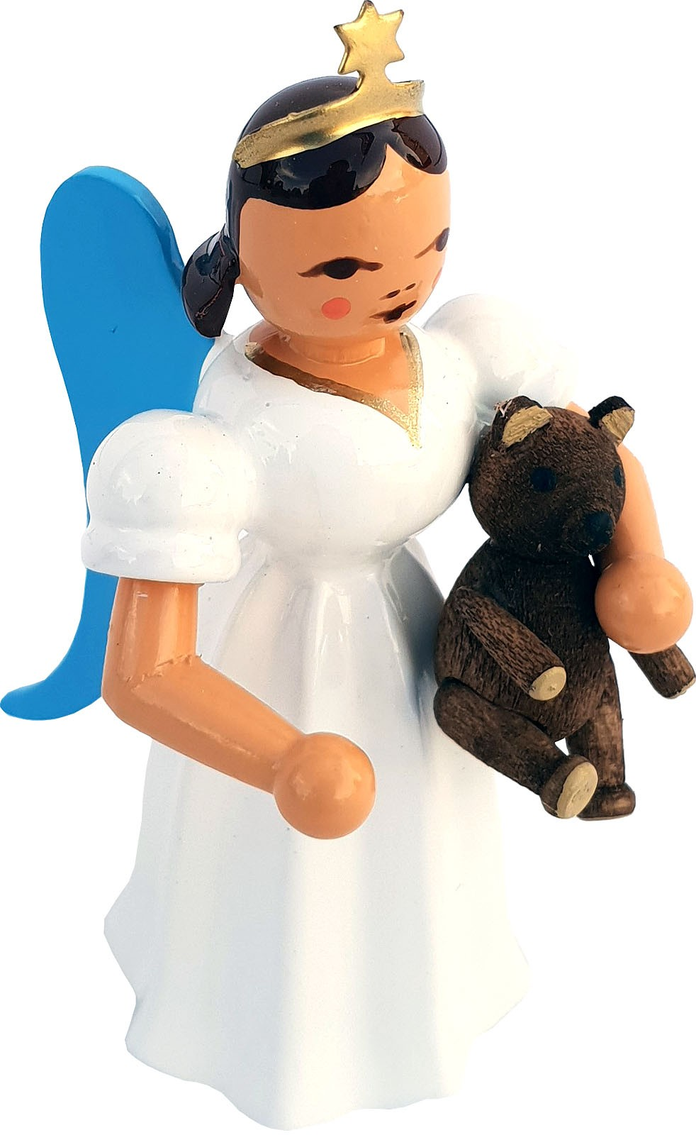 angel with long pleated robe and teddy bear