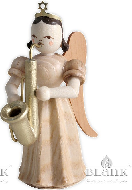 angels with long pleated skirts and saxophone