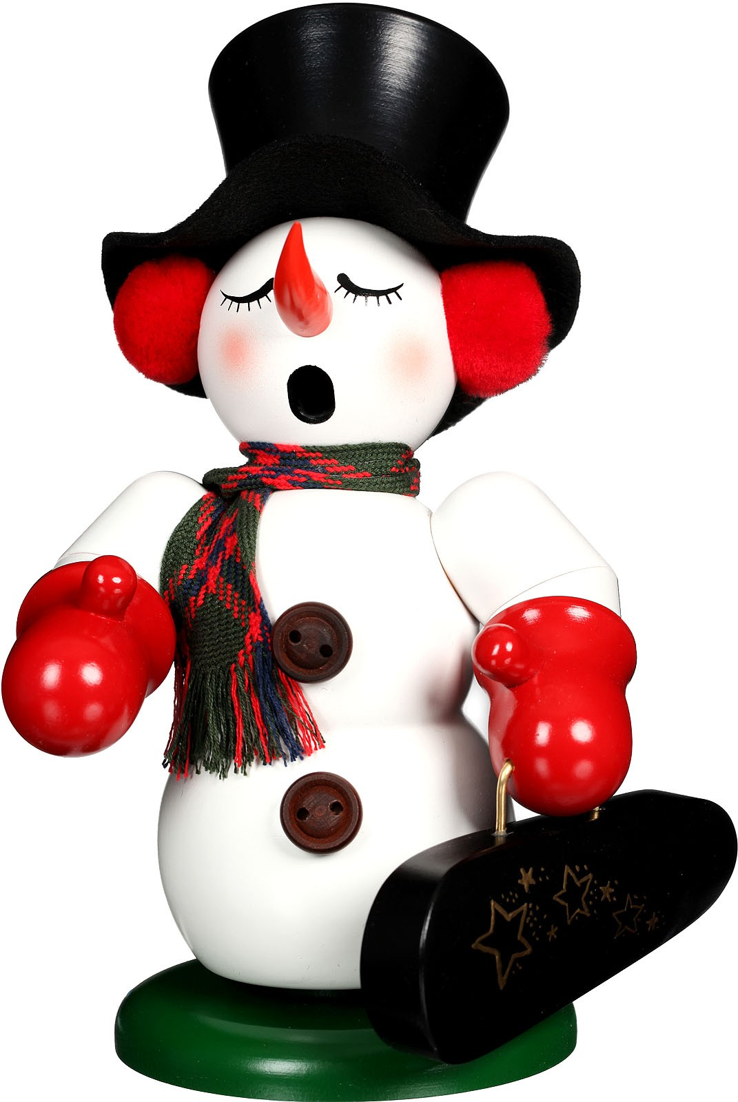 incense smoker, snowman with violin case
