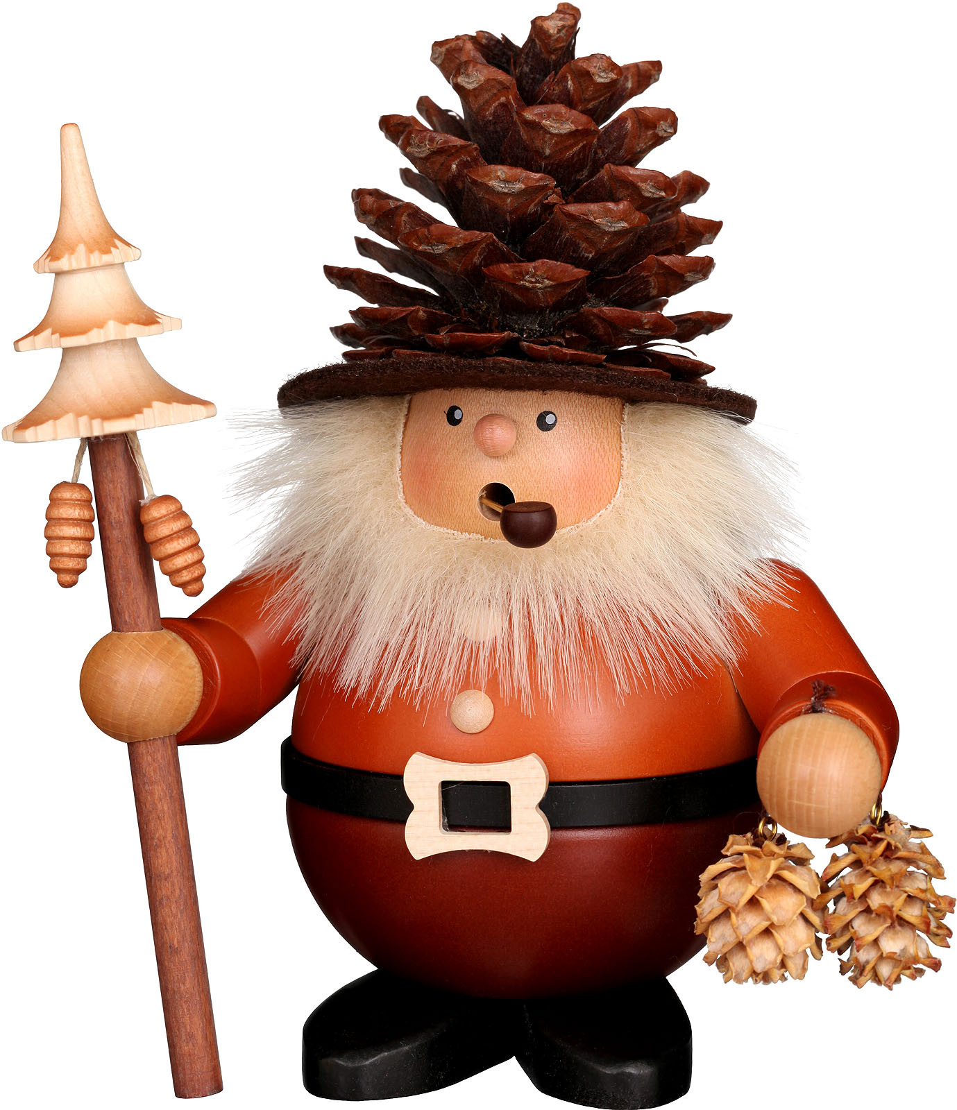 incense smoker, cone man, large, natural coloured