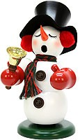 incense smoker, snowman with bell
