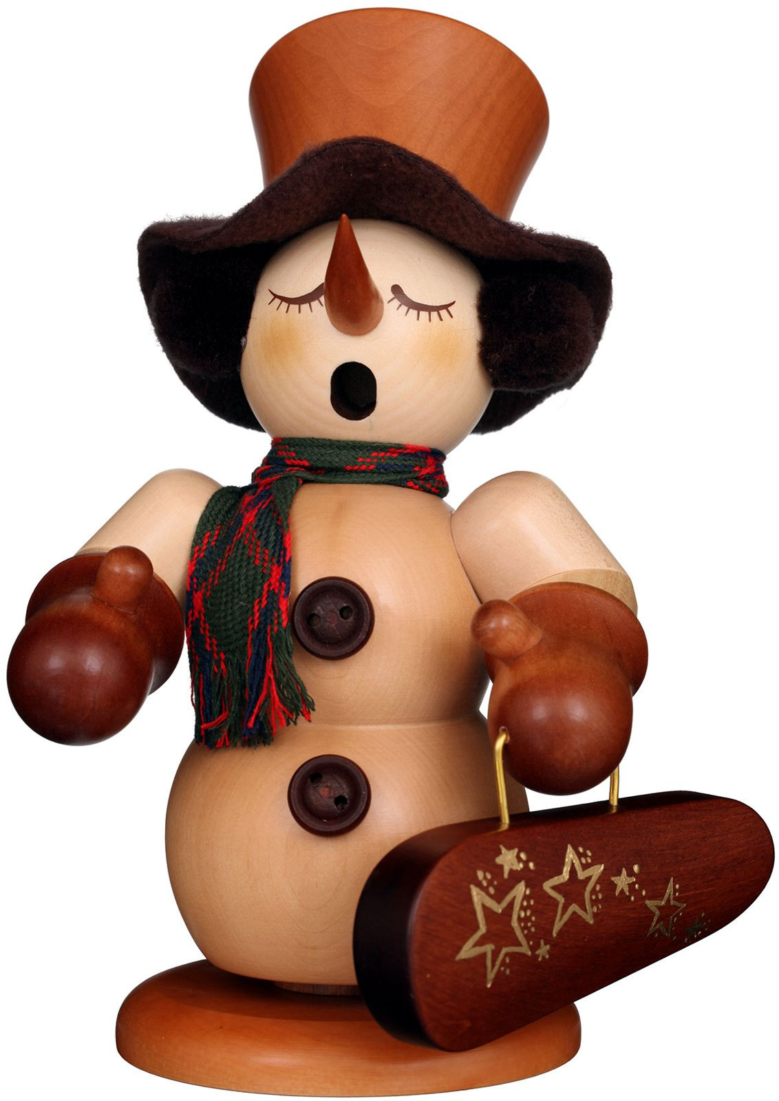 incense smoker Snowman with violin case natural