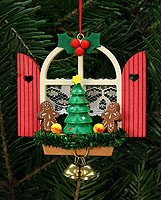 tree ornament advent window with gingerbread