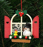 tree ornament advent window with snowman