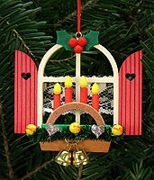 tree ornament advent window with candle arch