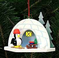 tree ornament igloo with penguin
