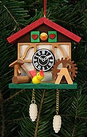 tree ornament cuckoo clock, with birdie
