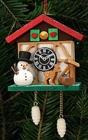 tree ornament cuckoo clock, snowman with fountain