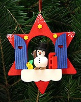 tree ornament star window with snowman