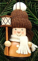 tree ornament wobbler figure, lantern boy, natural coloured