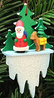 tree ornament Santa Claus with fawn on icicle