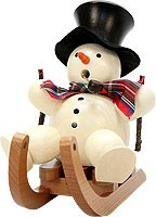 incense smoker, snowman on sled