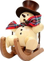 incense smoker, snowman on sled natural