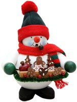 incense smoker, snowman with gingerbread