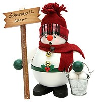 incense smoker, snowman with snowsballs