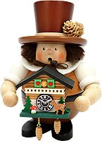incense smoker, Black Forest man with cuckoo clock