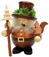 incense smoker, forest man with squirrel, natural coloured