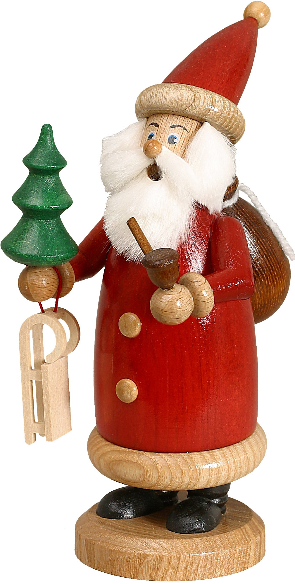 incense smoker santa claus red small