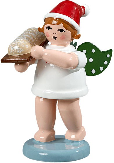 Christmas angel with stollen, with cap