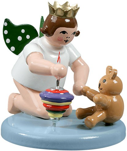 angel with spinning top and teddy bear - kneeling, with crown
