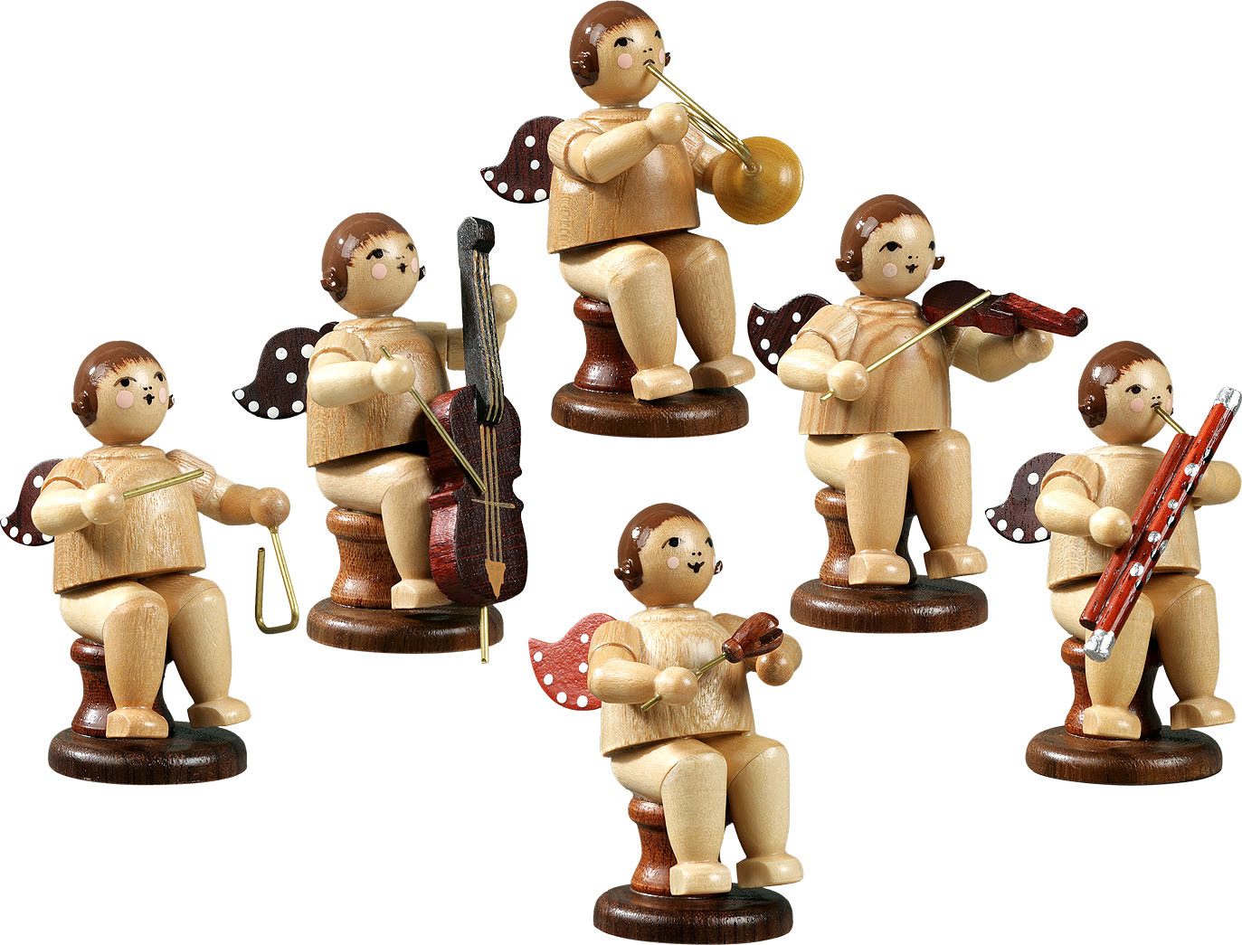 angel musicans, sitting, 6-part, variety 2 - without crown, natural