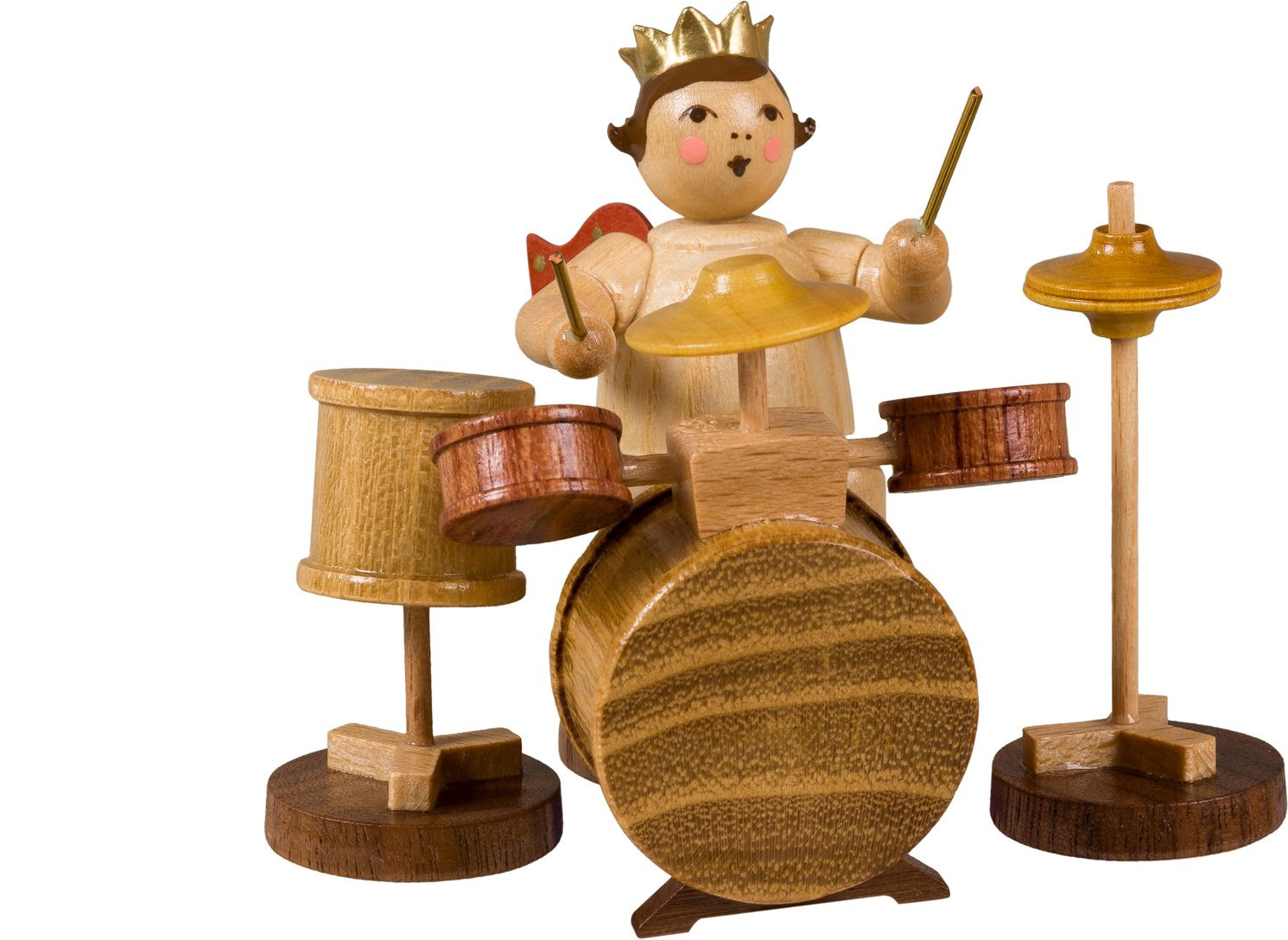 Angel with drums - with crown, natural