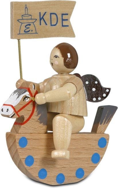 Angel on rocking horse with banneret/ natural without-crown