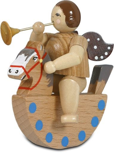 Angel on rocking horse with trumpet / natural without-crown