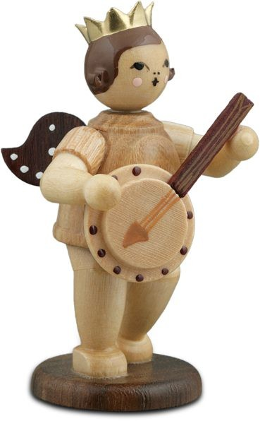 Angel with Banjo Natural with-crown