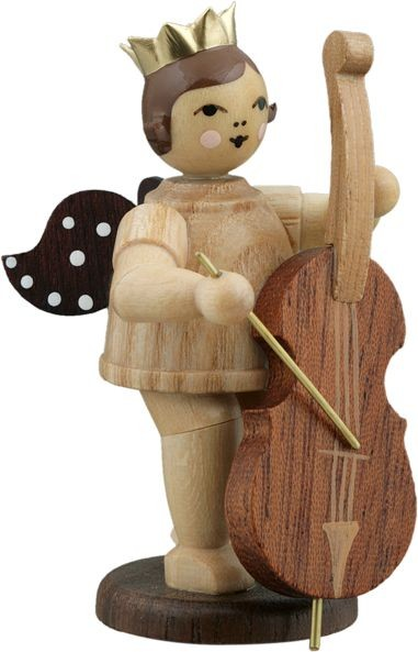 Angel with bass violin Natural with-crown