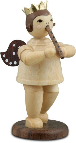Angel with block flute Natural with-crown