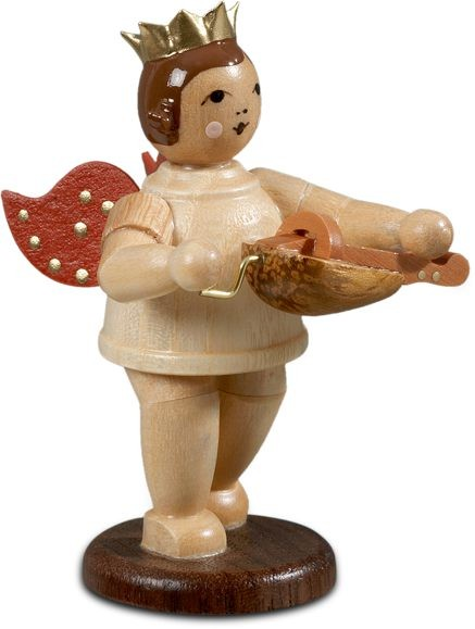 Angel with Hurdy gurdy Natural with-crown