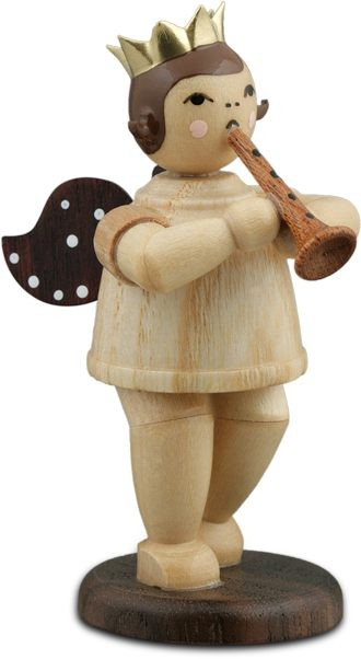 Angel with Flute Natural with-crown