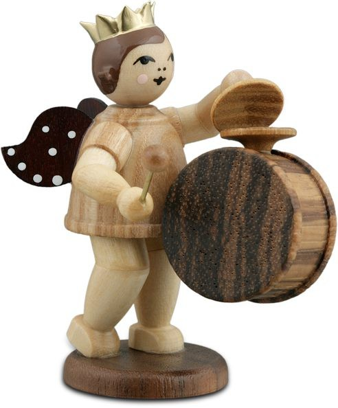 Angel with big Drum and Basin Natural with-crown