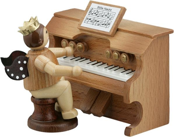 Angel on harmonium natural with-crown