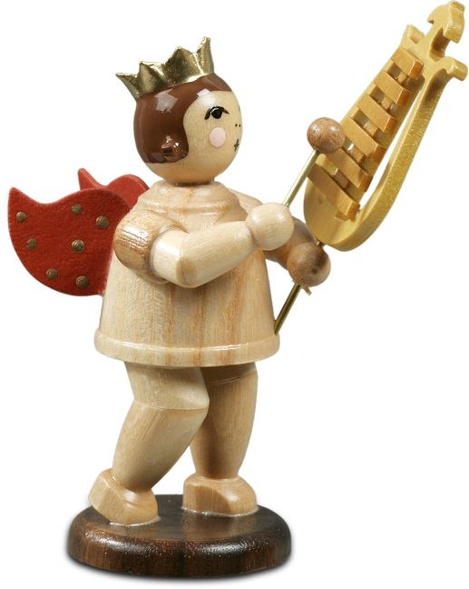 angel with bell lyre - with crown, natural