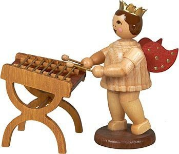 angel with hammered dulcimer - with crown, natural