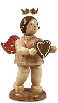 Angel with gingerbread heart, natur with-crown
