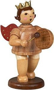 angel with hand drum - with crown, natural