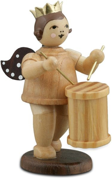 Angel with Tenor Drum Natural with-crown