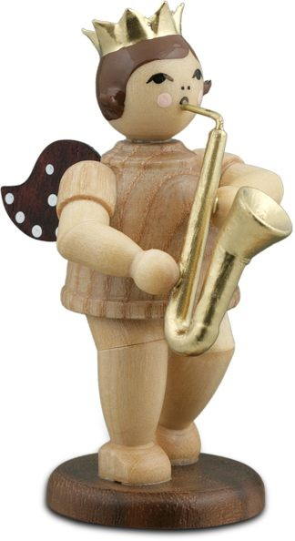 Angel with Saxophone Natural with-crown