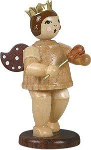 Angel with Castanets Natural with-crown