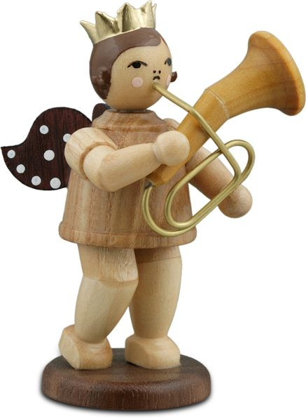 Angel with Baritone Horn Natural with-crown