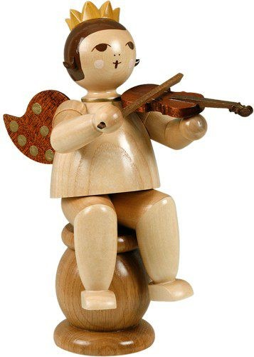 edge stool angel with violin -22cm- with-crown