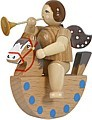 Angel on rocking horse with trumpet / natural