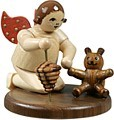Angel kneeing with teddy and spinning top / natural