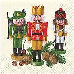 table napkins, nutcracker trio