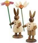 rabbit couple with flowers / natural