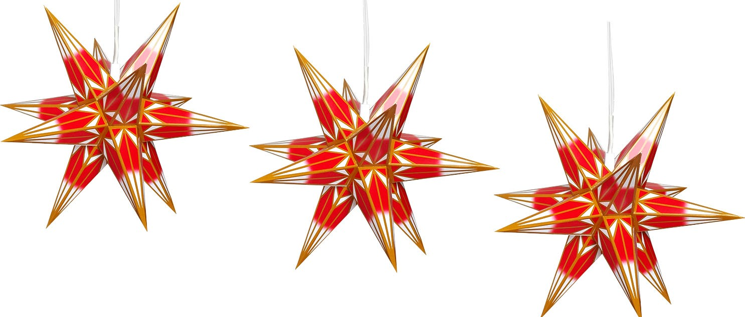 Hasslauer Advent star, set of 3, red/white with gold pattern